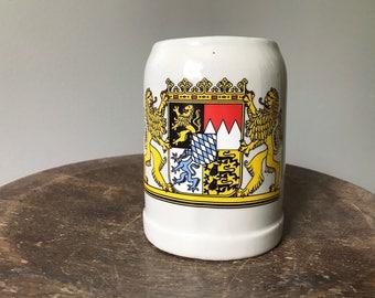 Beer Stein Mug Vintage German Beer Stein Bavarian Lion Crest Coat of Arms Cup Ceramic Gray Glazed Tankard Geprüfte BWM Qualität Marked Flag