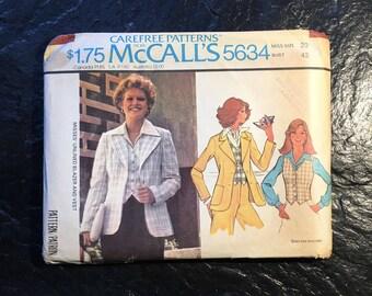 Vintage 1970s Blazer & Vest Pattern // McCall's 5634 > plus size 20 > Unused > unlined jacket