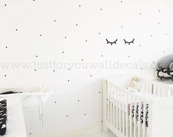 1 Inch, Mini Polka Dot Wall Decals, Set of 80 - Polka Dot Wall Decals, Pattern Wall Decals, Playroom Wall Decal, Dot Wall Decals 11-0001