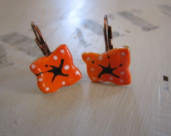 Orange fusing glass with white dots, brass Leverback Earrings