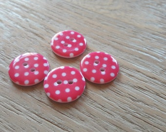 Set of 4 buttons pink with white dots, sewing, scrpbooking