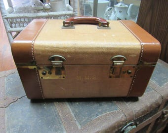 Leather train case suitcase for cosmetics