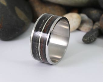 Wood Ring with Dinosaur Bone, Meteorite and a Silver Inlay.  Steel Ring, Meteorite Ring, Dinosaur Bone Ring, Wooden Rings
