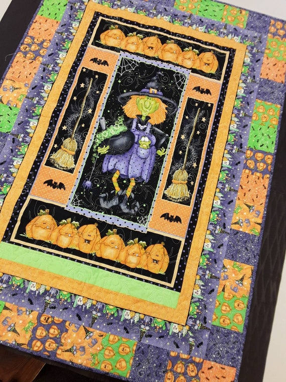 Halloween Quilt Kit. Wall Art of Witches, Brooms, Bats, Spiders, Pumpkins and Purple Cats.  Fabric and Pattern for Easy Quilting Project