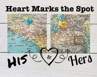 His and Hers Custom Hometown Heart Map - Vintage Map Print - Engagement Gift - Bridal Shower Gift - Wedding Gift - To Bride From Groom Gift