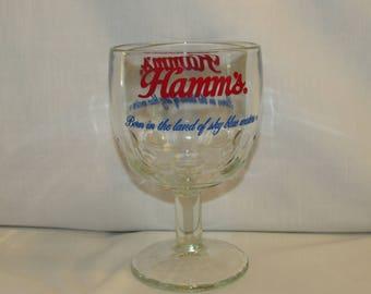 HAMM'S BEER SCHOONER Thumbprint Goblet