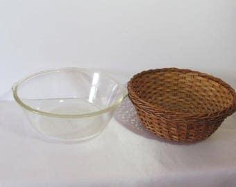 Glassbake Casserole with basket; 1940's