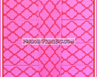 "ON SALE 5 yds 7/8"" Hot Pink with Red Quatrefoil Modern Moroccan Tile Lattice Grosgrain Ribbon Valentine's Day"