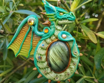 Labradorite with Green Dragon Pendant