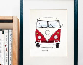 ART PRINT - Adventure Van - Blessed are the curious for they shall find adventures  - print of a gouache painting