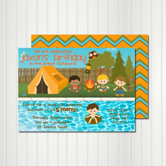 Camp Pool Party Invitation Camp Invitation Pool Party