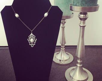 Vintage Pearl Bronze Necklace