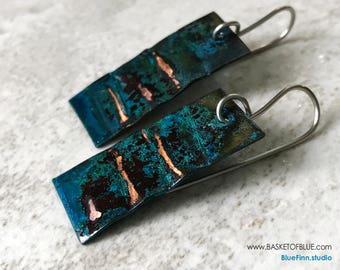 Blue patina earrings, copper patina jewelry metal earrings, rustic rectangle dark patina jewelry geometric, primitive handmade