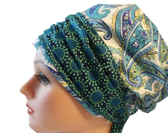 Scrub Hat Cap Chemo Bad Hair Day Hat  European BOHO Banded  Pixie Tie Back Blue Cream Paisley Blue Green Band 2nd Item Ships FREE