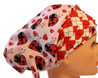 Scrub Hat Cap Chemo Bad Hair Day Hat  European BOHO Banded Pixie Tie Back Pink Ladybugs with Red Plaid Band 2nd Item Ships FREE