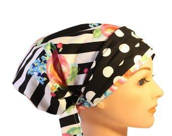 Scrub Hat Cap Chemo Bad Hair Day Hat  European BOHO Banded Pixie Tie Back Stripe Pink Blue Roses Black Dot Band 2nd Item Ships FREE