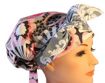 Scrub Hat Cap Chemo Bad Hair Day Hat  European BOHO Banded Pixie Tie Back Pink Flower Shower Gray Damask Tie Band 2nd Item Ships FREE