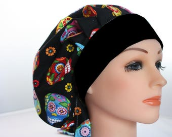Medical Scrub Cap Surgical Chef Hat Bouffant Sugar Cantina Skulls Black Band Blue Pink Red Orange  Yellow  2nd Item Ships FREE
