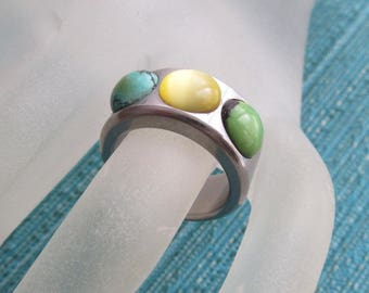 Modernist Minimal Stainless Steel Hand Crafted Turquoise Citron Malachite 7.5 Womens Excellent