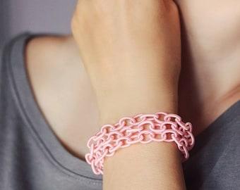 Pink Chunky Bracelet Wrap Bracelet Fabric Chain Bracelet Link Bracelet Pink Bracelet Layers Bracelet Satin Bracelet Pink Wrap Boho Bracelet