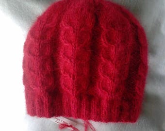 Hat-pure wool 100% Red angora and mohair and silk