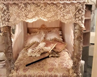 Stunning 1/12th scale dollhouse miniature canopy bed with lighting The Princess Payment plan available