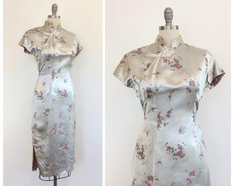 50s Silver Satin Cheongsam Dress / 1950s Vintage Asian Red Floral / Medium / Size 6