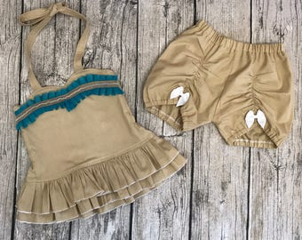 Disney pocahontas inspired double ruffle top with matching bloomers Sizes 6 months to 8