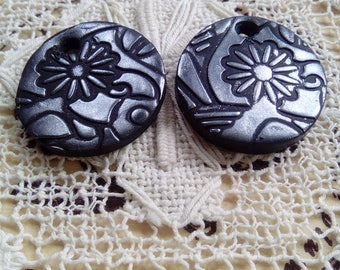 Black and silver earring charms, polymer clay charms, flower charms, round charms, jewellery supply, unique, handmade, jewellery components