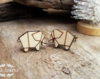 Origami Elephant Wooden Cufflinks Geometric Elephant Dad Grooms Best man Groomsman Rustic Wedding Birthday Gift Cuff links