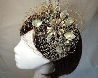 vintage fascinator, whimsical tiara, veiled headdress, gold tiara, green flower fascinator, unique fascinator