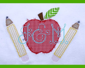 Apple Pencils Vintage Style Blanket Stitch Applique Design