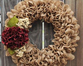 Burlap Ruffle Wreath, Modern Farmhouse Wreath, Rustic Wreath, Hydrangea Wreath, Year Round Wreath, Fall Wreath, Autumn Wreath, Everyday