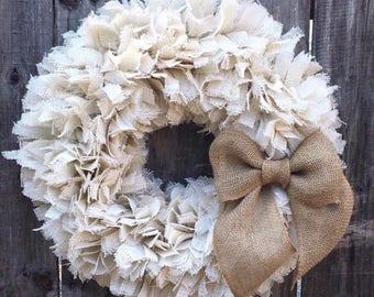"24"" Holiday Rag Wreath, Winter White Burlap Wreath, Rustic Wreath, Christmas at the Beach Wreath, Let it snow wreath"
