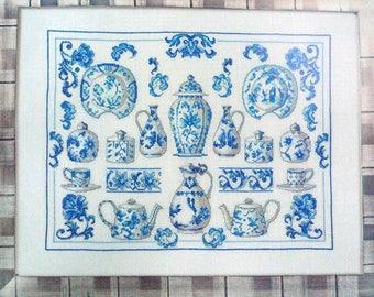 Blue and White China Porselaine Sampler permin of copenhagen 70-5132