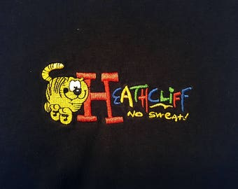 90s Heathcliff Embroidered T Shirt Cat Comic Garfield, Inspector Gadget, Rainbow Brite, Kissyfur, wuzzles