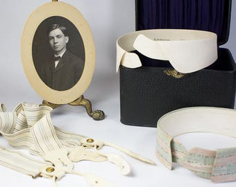 Late 19th Century Menswear Detachable Collars and Suspenders