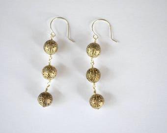 Silver Vintage Open Work Bead Dangle Earrings