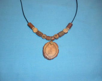 Tree Branch Slice Necklace, Unique Sassafras Driftwood Pendant with Persimmon Beads, Adjustable, Handcrafted for Men or Women