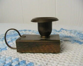 Brass Candlestick and Match Box Holder, Little Vintage Candlestick and Match Holder, Hong Kong