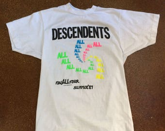 Vintage Descendents ALL FinALL Tour Summer 1987 Shirt Tee Made in USA Very Rare Milo Deadstock Condition