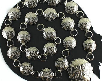 """Southwestern Silver Metal Concho Chain Belt -  up to 35"""""""