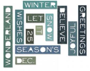 Sizzix Thinlits Tim Holtz Dies Set - HOLIDAY WORDS - THIN, Christmas Winter season greetings 661600 1.cc56