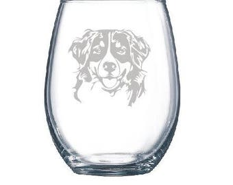 Personalized Bernese Mountain Dog Lover Owner Wine Glass - Stemmed or Stemless
