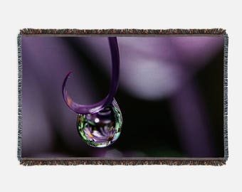Soft Woven Blanket, Large Blanket, Colorful Blanket, Purple Throw Cover, Nature Photo Blanket, Purple Blanket, Dew Drop Nature Blanket