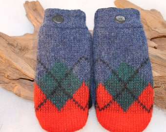 Wool sweater mittens lined with fleece with Lake Superior rock buttons in blue, orange, green, and black, Christmas, coworker gift, birthday