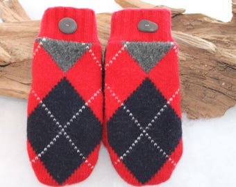 Wool sweater mittens lined with fleece with Lake Superior rock buttons in red, gray, navy blue, black, and white, Christmas, coworker gift