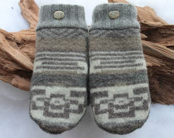 Wool sweater mittens lined with fleece with Lake Superior rock buttons in gray, cream, and brown, Valentines, birthday, anniversary