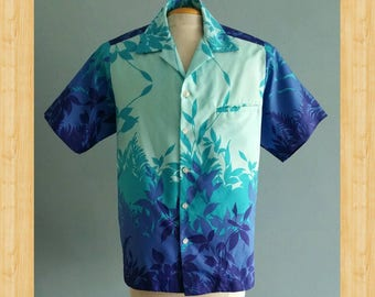 1970s mens blue Hawaiian