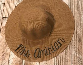 Floppy hat, summer outdoors, monogram hat, sun kissed hat, Summer Party Hat, custom floppy hat, honeymoon hat, beach hat, bachelorette gift